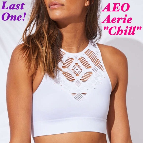e28ace19a6c AERIE AEO CHILL Seamless High Neck Cutout Bralette